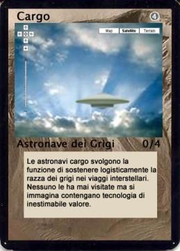 Un esempio di una Carta Astronave della razza dei Grigi del gioco da tavolo Area 51 The Game®