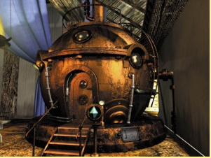 Una immagine di fantasia della macchina del tempo